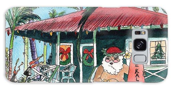 Mele Kalikimaka Hawaiian Santa Galaxy Case