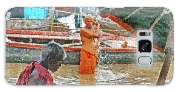 Men Bathing In The Ganges River Galaxy Case