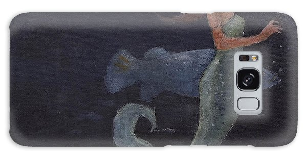 Mermaid And The Blue Fish Galaxy Case
