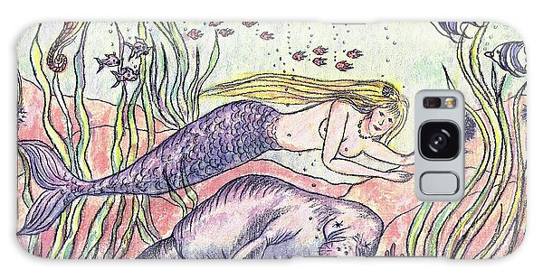 Mermaid And The Manatee Galaxy Case by Nancy Taylor