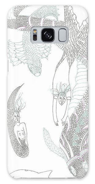 Mermaids And Sea Dragons Galaxy Case by Helen Holden-Gladsky