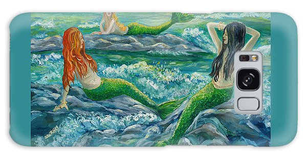 Mermaids On The Rocks Galaxy Case
