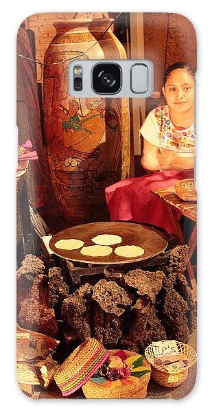 Mexican Girl Making Tortillas Galaxy Case by Roupen  Baker