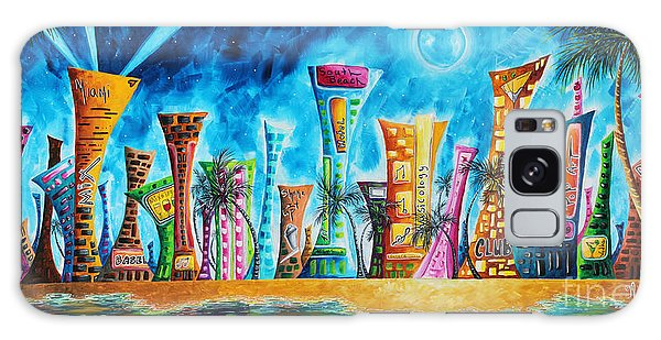 Abstract People Galaxy Case - Miami City South Beach Original Painting Tropical Cityscape Art Miami Night Life By Madart Absolut X by Megan Duncanson