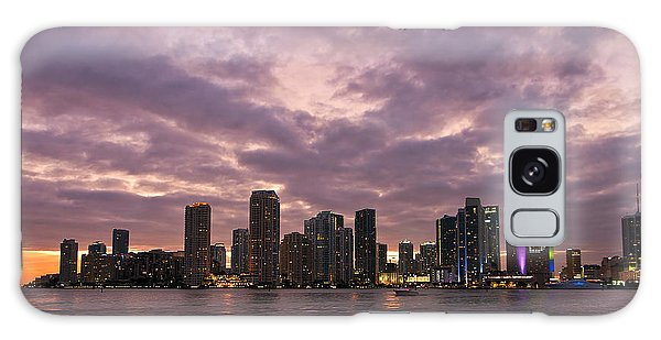 Miami Skyline After Sunset Galaxy Case