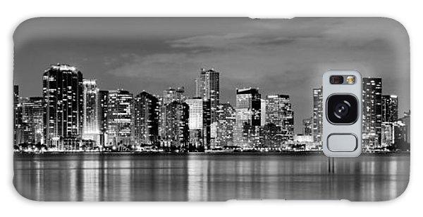 Miami Skyline At Dusk Black And White Bw Panorama Galaxy Case