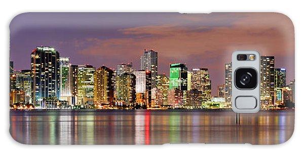 Miami Skyline At Dusk Sunset Panorama Galaxy Case