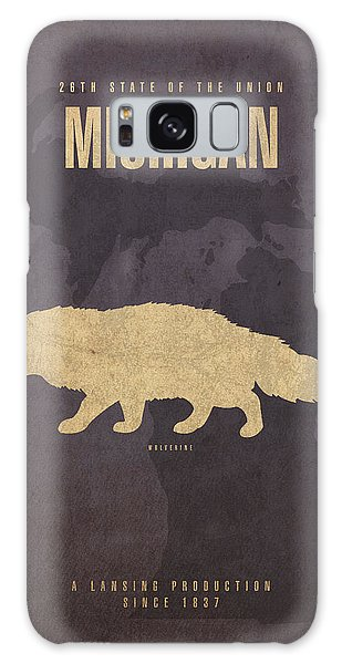 Galaxy Case - Michigan State Facts Minimalist Movie Poster Art  by Design Turnpike