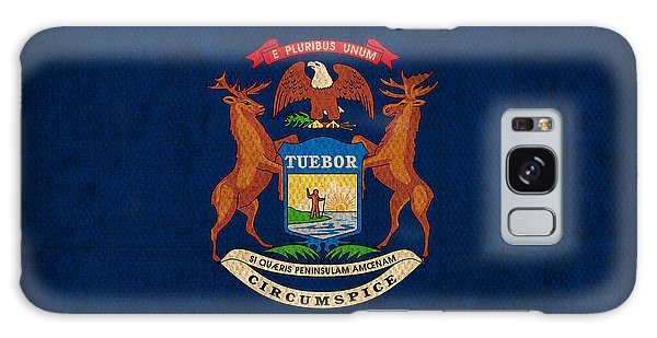 Michigan State Flag Art On Worn Canvas Galaxy Case by Design Turnpike