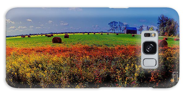 Michigan Uper  Farm Barn And Rolls Of Hay Brimly Michigan Galaxy Case
