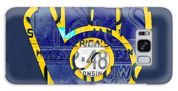 Sport Art Galaxy Case - Milwaukee Brewers Vintage Baseball Team Logo Recycled Wisconsin License Plate Art by Design Turnpike