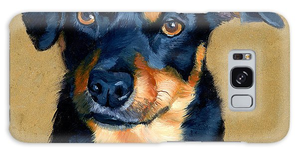 Miniature Pinscher Dog Painting Galaxy Case by Alice Leggett
