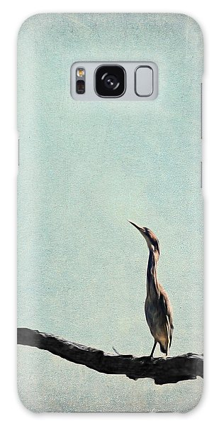 Minimalist Vintage Inspired Green Heron On Pale Blue Sky Galaxy Case