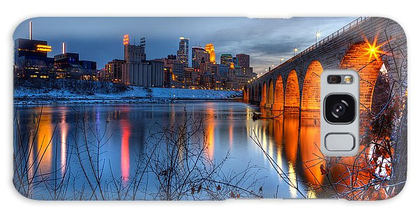 Minneapolis Skyline Images Stone Arch Bridge Spring Evening Galaxy Case