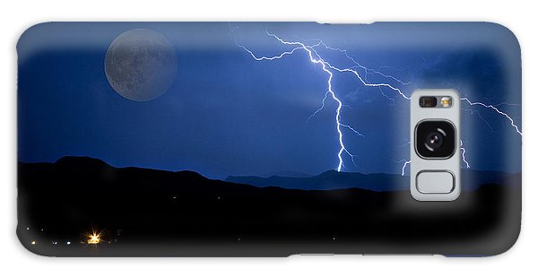 Misty Lake Full Moon Lightning Storm Fine Art Photo Galaxy Case