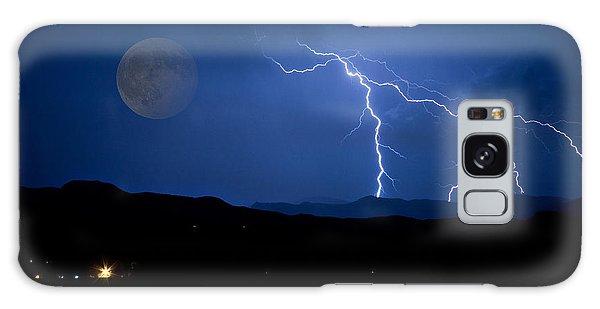 Misty Lake Full Moon Lightning Storm Fine Art Photo Galaxy Case