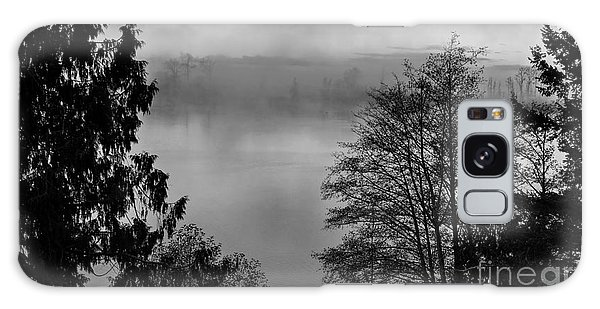 Misty Morning Sunrise Black And White Art Prints Galaxy Case