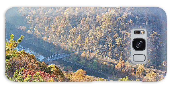 Misty Morning View Of The New River Gorge Old County Road 82 Bri Galaxy Case