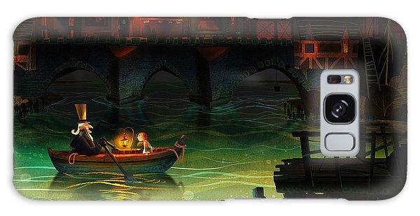 Docked Boats Galaxy Case - Misty Night by Kristina Vardazaryan