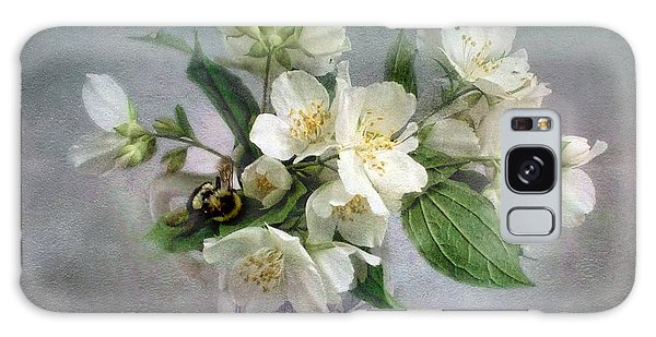 Sweet Mock Orange Blossom Bouquet With Bumble Bee  Galaxy Case by Louise Kumpf