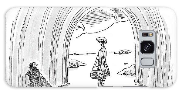 Modern Woman Walking Out On A Caveman Galaxy Case
