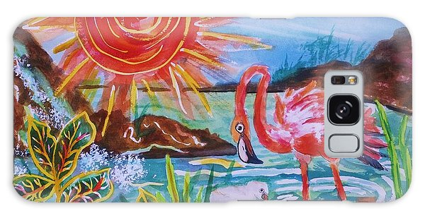 Momma And Baby Flamingo Chillin In A Blue Lagoon  Galaxy Case