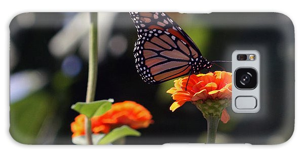 Monarch Butterfly And Orange Zinnias Galaxy Case