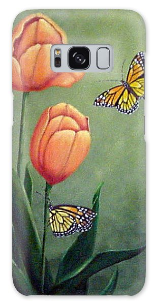 Monarchs And Golden Tulips Galaxy Case