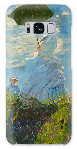 Monet-lady With A Parasol-joseph Hawkins Galaxy Case by Joseph Hawkins