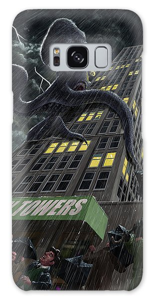 Galaxy Case featuring the painting Monster Octopus Attacking Building In Storm by Martin Davey