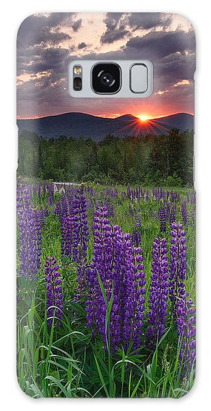 Moody Sunrise Over Lupine Field Galaxy Case