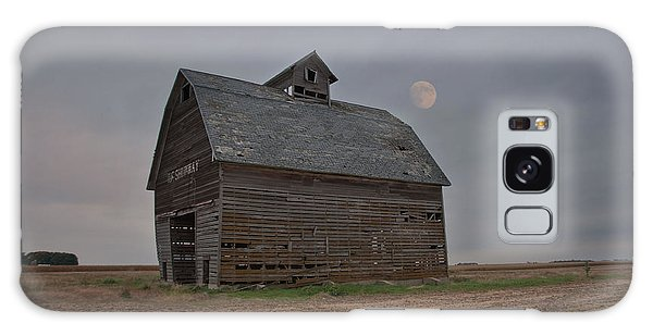 Moon Over Abandoned Iowa Corn Crib Galaxy Case