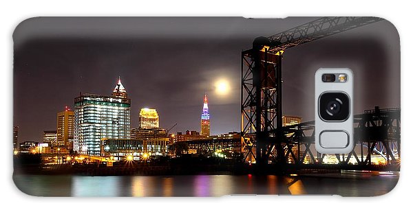 Moon Over Cleveland Galaxy Case by Daniel Behm