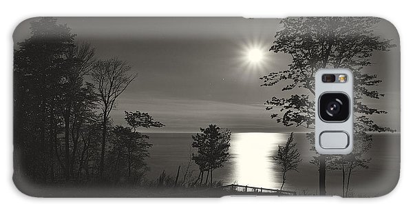 Moon Over Lake Michigan In  Black And White Galaxy Case by Mary Lee Dereske