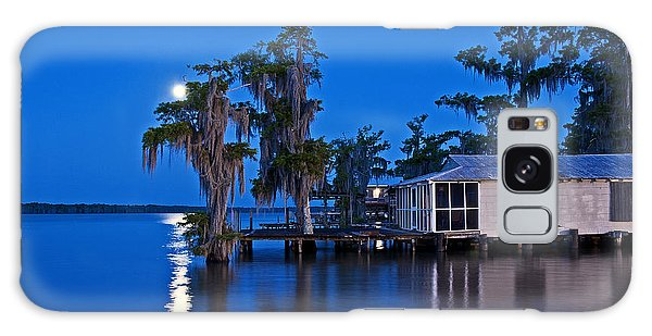 Moon Over Lake Verret Galaxy Case by Andy Crawford
