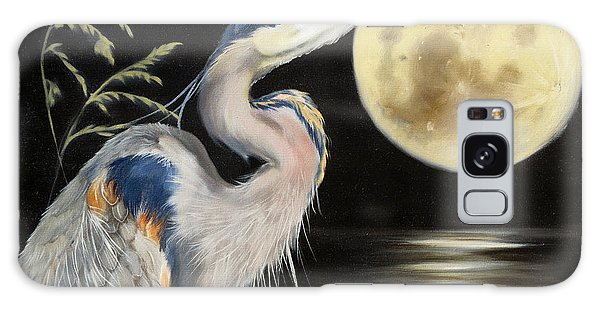 Moon Over Mississippi A Great Blue Herons Perspective Galaxy Case
