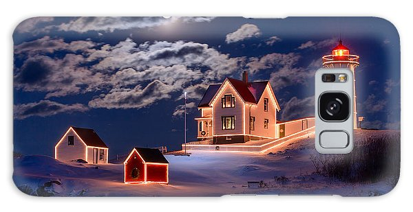 Lighthouse Galaxy Case - Moon Over Nubble by Michael Blanchette