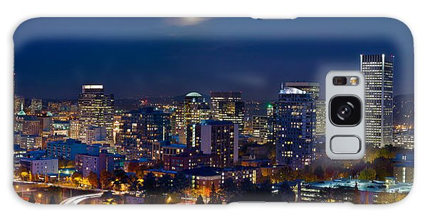Moon Over Portland Oregon City Skyline At Blue Hour Galaxy Case by JPLDesigns