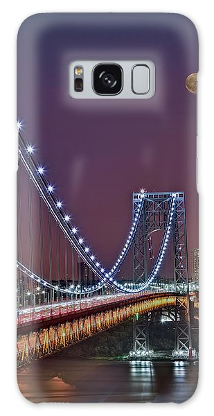 Galaxy Case featuring the photograph Moon Rise Over The George Washington Bridge by Susan Candelario