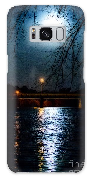 Moon Set Lake Pleasurehouse Galaxy Case by Angela DeFrias