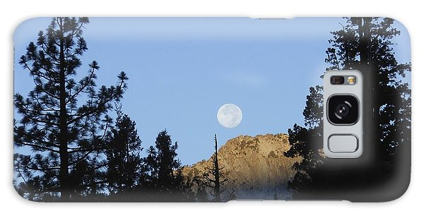 Moon Setting In Pines At Sunrise Galaxy Case