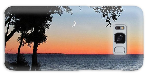 Moon Sliver At Sunset Galaxy Case