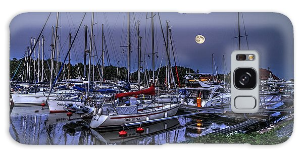 Moonlight Over Yacht Marina In Leba In Poland Galaxy Case by Julis Simo