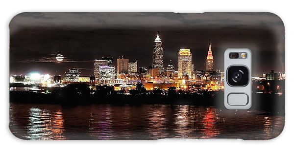 Moonrise Over Cleveland Skyline Galaxy Case