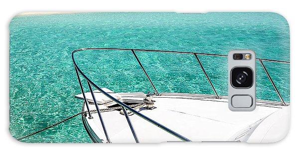 Motor Yacht Galaxy Case - Moored Boat In Blue Lagoon by Jenny Rainbow