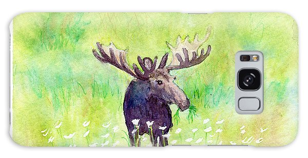 Moose In Flowers Galaxy Case