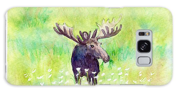 Moose In Flowers Galaxy Case by C Sitton
