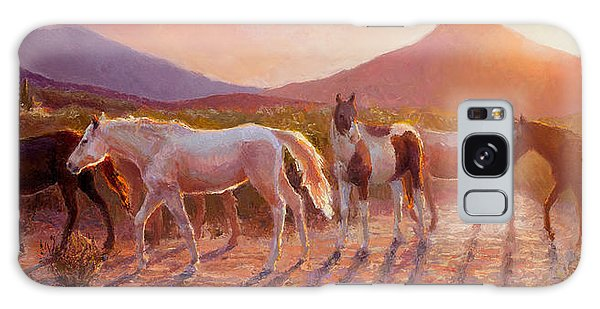 More Than Light Arizona Sunset And Wild Horses Galaxy Case