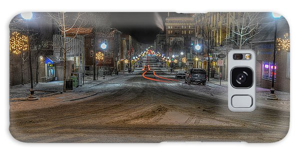 Galaxy Case featuring the photograph Morgantown High Street On Cold Snowy Night  by Dan Friend