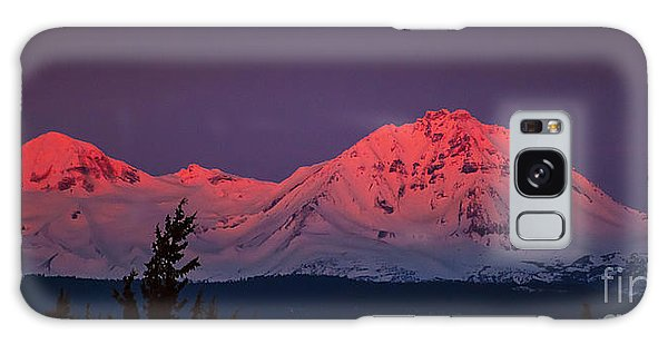 Morning Dawn On Two Of Three Sisters Mountain Tops In Oregon Galaxy Case